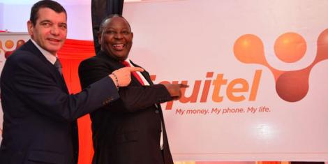 Dr James Mwangi (right) during the launch of Equitel in 2016. The operator has grown 16% over the past year. www.businesstoday.co.ke