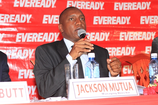 AGM Eveready MD Jackson Mutua speaks at the AGM today