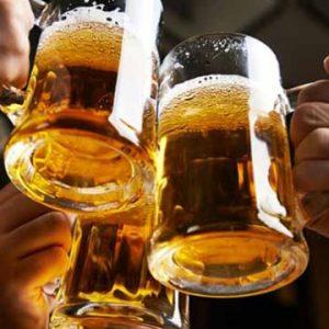 Revelers sharing a toast at a bar