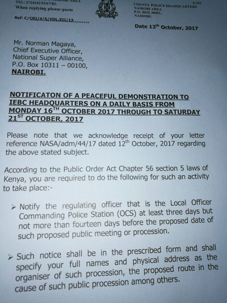 Nasa-police-letter-768x1024 You didn't follow the law, police tell Nasa