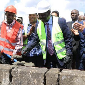 African Union High Representative for Infrastructure Development in Africa Raila Odinga lays the foundation stone while launching the Green Zone Apartments project www.businesstoday.co.ke