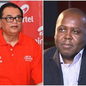 Airtel Kenya CEO Prasanta Das Sarma (left) and Telkom Kenya CEO Mugo Kibati. The Telkom Boss has blamed Safaricom for delaying its merging plan with Airtel Kenya. www.businesstoday.co.ke