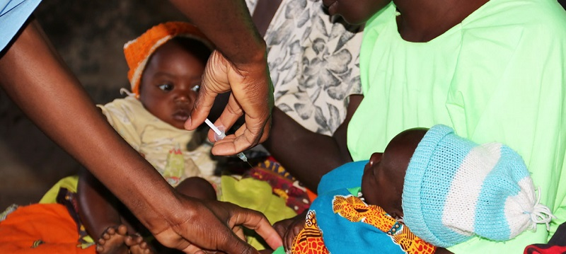 The malaria vaccine is administered to a five-month old child at Mkaka in Malawi www.businesstoday.co.ke