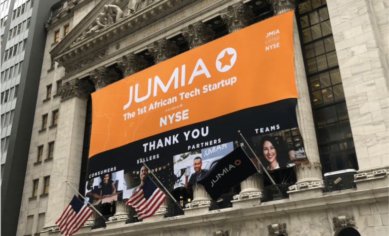 Jumia banner when it announced entry into the NYSE. The company has closed its Tanzanian shops. www.businesstoday.co.ke