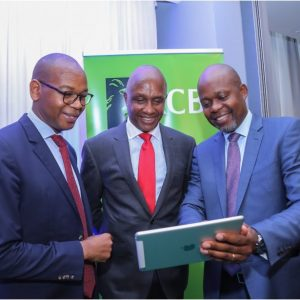 KCB Group CEO and MD Joshua Oigara KCB Chairman Andrew Kairu and KCB CFO Lawrence Kimathi during the 2018 FY Results Announcement. www.businesstoday.co.ke