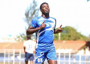 Former Harambee Stars striker Allan Wanga celebrates his goal in a past match. www.businesstoday.co.ke