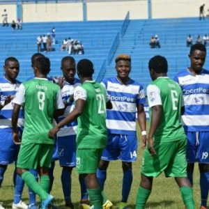 Gor Mahia and AFC Leopards players exchange customary greetings during a past Mashemeji derby. www.businesstoday.co.ke