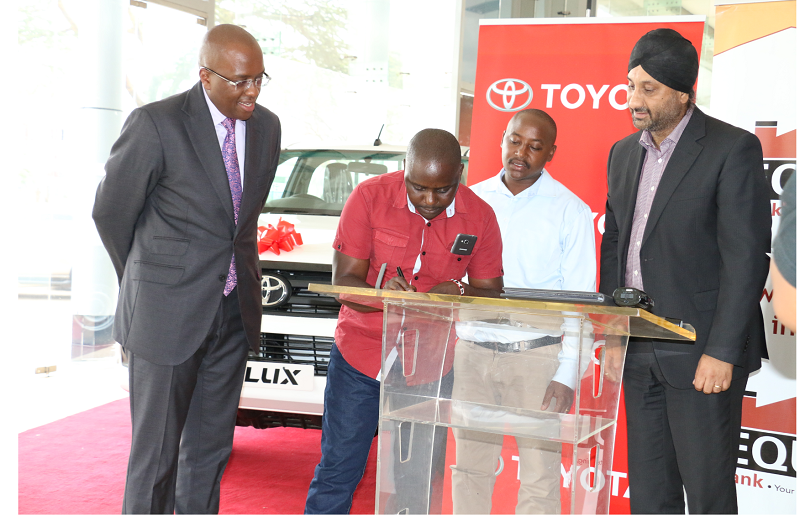 Image result for Equity Bank Kenya and Toyota Kenya Ltd have signed a partnership agreement that will see customers get up to 95% financing payable within 60 months on the single cab Hilux pickups.