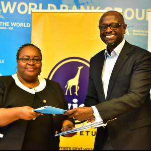 IFC Regional Director for Eastern Africa Jumoke Jagun-Dokunmu (left) exchanges documents with Twiga Foods CEO Peter Njonjo after signing an agreement between the two companies. www.businesstoday.co.ke