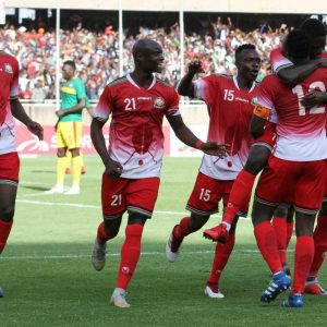 Harambee Stars players celebrate Victor Wanyama's goal against Ethiopia at the Moi International Sports Centre Kasarani. Stars have been given an 'easy' group at the World Cup qualifiers draw. www.businesstoday.co.ke