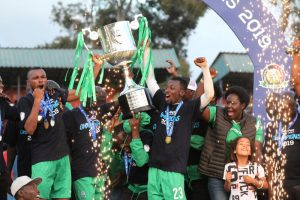 Gor Mahia players lifting the KPL trophy after emerging victorious in the 2018/19 season. www.businesstoday.co.ke