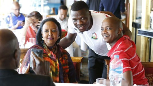 FKF President Nick Mwendwa (right) poses for a photo with Harambee Stars goalkeeper Patrick Matasi (centre) and Sports Cabinet Secretary Amb. Amina Mohammed. www.businesstoday.co.ke