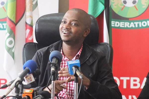 Federation of Kenyan Football (FKF) president Nick Mwendwa addressing Journalists at a past event. www.businesstoday.co.ke