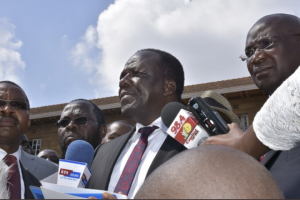 Council of governors chairman Wycliffe Oparanya addressing reporters outside the Supreme Court after filing case with the court on July 15th. www.businesstoday.co.ke