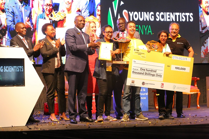 Blaze YSK National Exhibition overall winners Iyad Anwar Tahlar and her project www.businesstoday.co.ke