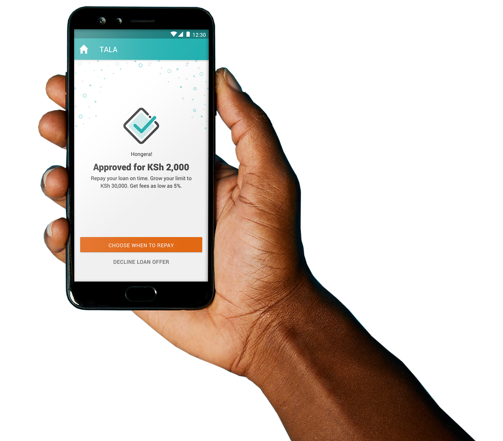 A borrower receives a micro loan from Tala, a dominant digital lender in Kenya. Loan sharking tendencies by some mobile lenders are becoming a deterrent to people who would be interested in taking credit. www.businesstoday.co.ke