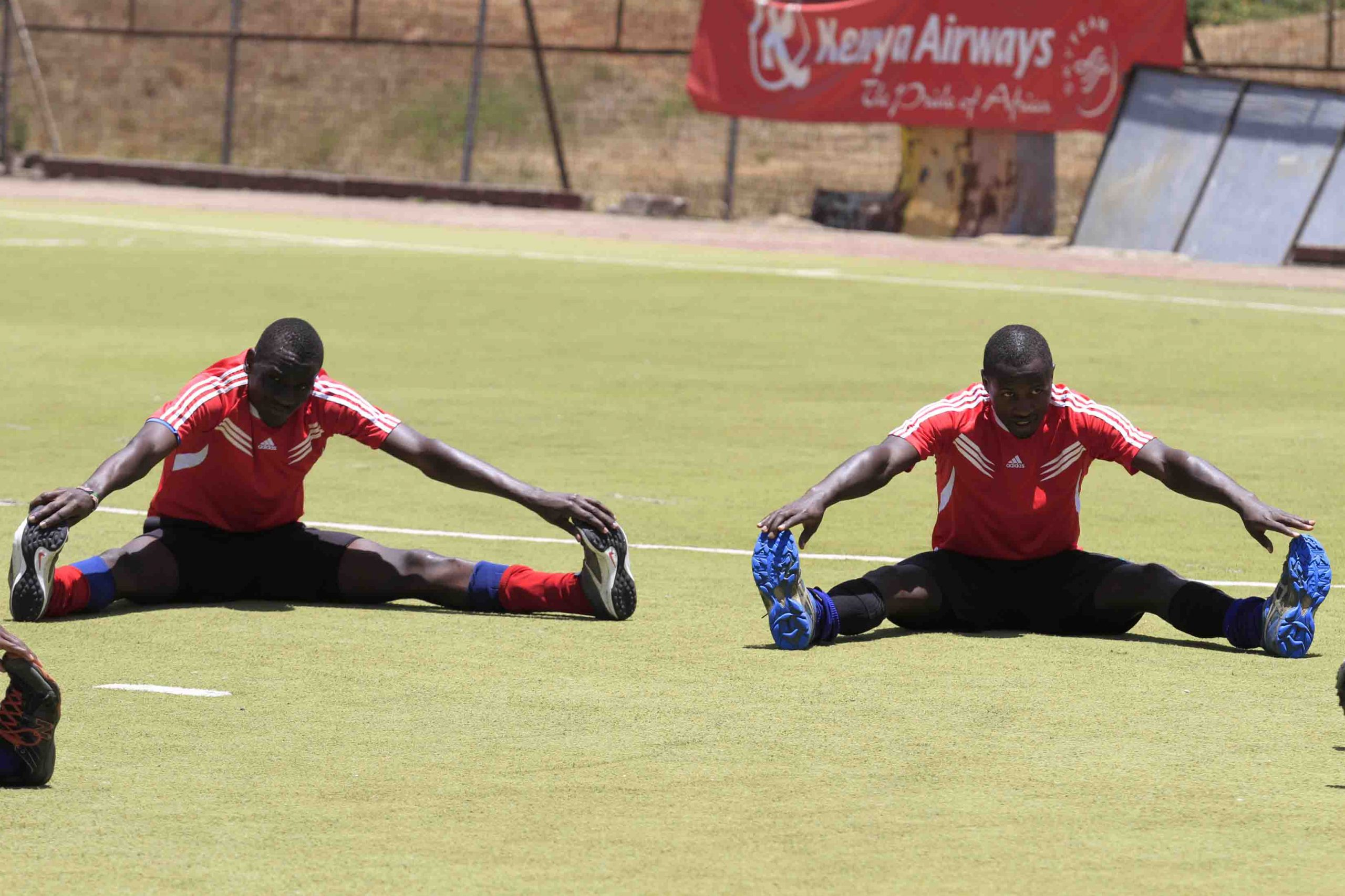 Constance Wakhura (Right) and Calvins Kanu during a hockey national team training exercise at the City Park Hockey Stadium. Kenya may miss the Africa Olympic hockey qualification tournament due to lack of funds. www.businesstoday.co.ke