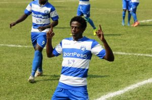 Paul Kiongera celebrates a goal he scored during his times at AFC Leopards. He currently plays for Ushuru FC. www.businesstoday.co.ke