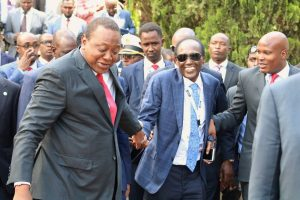President Uhuru Kenyatta holds the hand of businessman Chris Kirubi on the sidelines of the Blue Economy Conference in Nairobi in November last year. Kirubi was flown to the US for further treatment at the weekend www.businesstoday.co.ke
