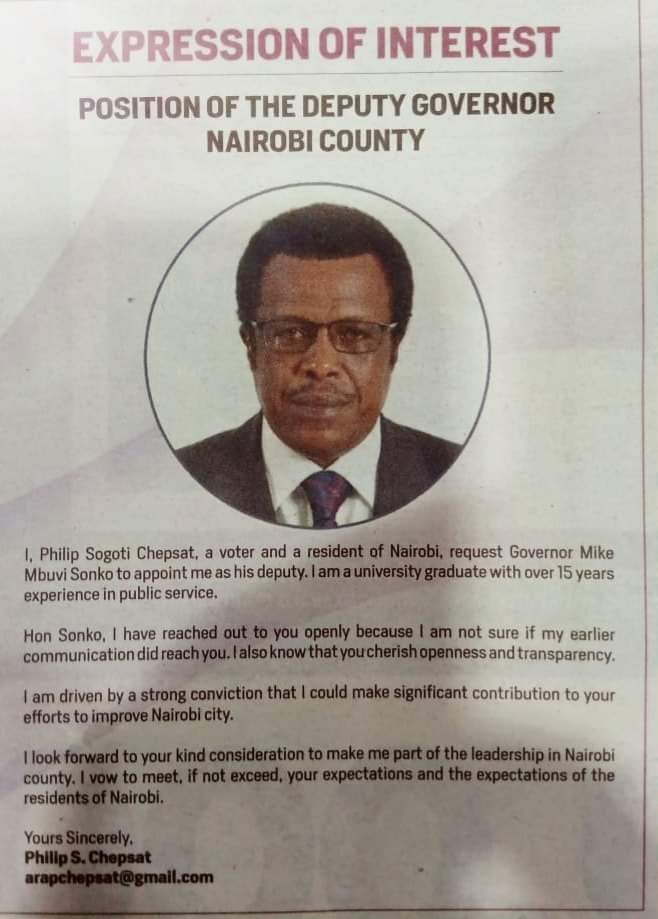 The advert put up by Phillip Chepsat indicating his interest in the deputy governer's position in Nairobi. www.businesstoday.co.ke