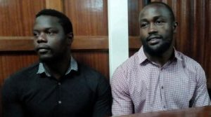 Alex Olaba Mahaga (left) and Frank Wanyama at a Nairobi Court in 2018. They have been jailed for 15 years after being found guilty of gang-raping a musician www.businesstoday.co.ke