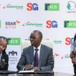 From Left: Etude Africa Director Joy Wachira, KCB Group Chief Operating Officer Sam Mukome and Safaricom Chief Customer Officer Sylivia Mulinge during the signing of the SOAR Africa summit sponsorship deal. www.businesstoday.co.ke
