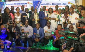 RT Hon Raila Odinga poses for a photo with all the award winners of the Annual Journalism Excellence Awards at the Intercontinental Hotel. www.businesstoday.co.ke