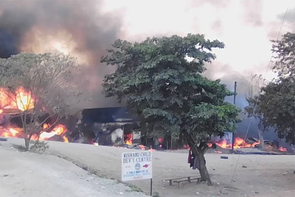 A section of Githurai 45 market that has been razed by fire www.businesstoday.co.ke