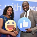 Facebook Head of Public Policy East Africa Mercy Ndegwa and Wylde International Managing Director Joram Mwinamo during the launch of the Boost with Facebook in Kenya. www.businesstoday.co.ke