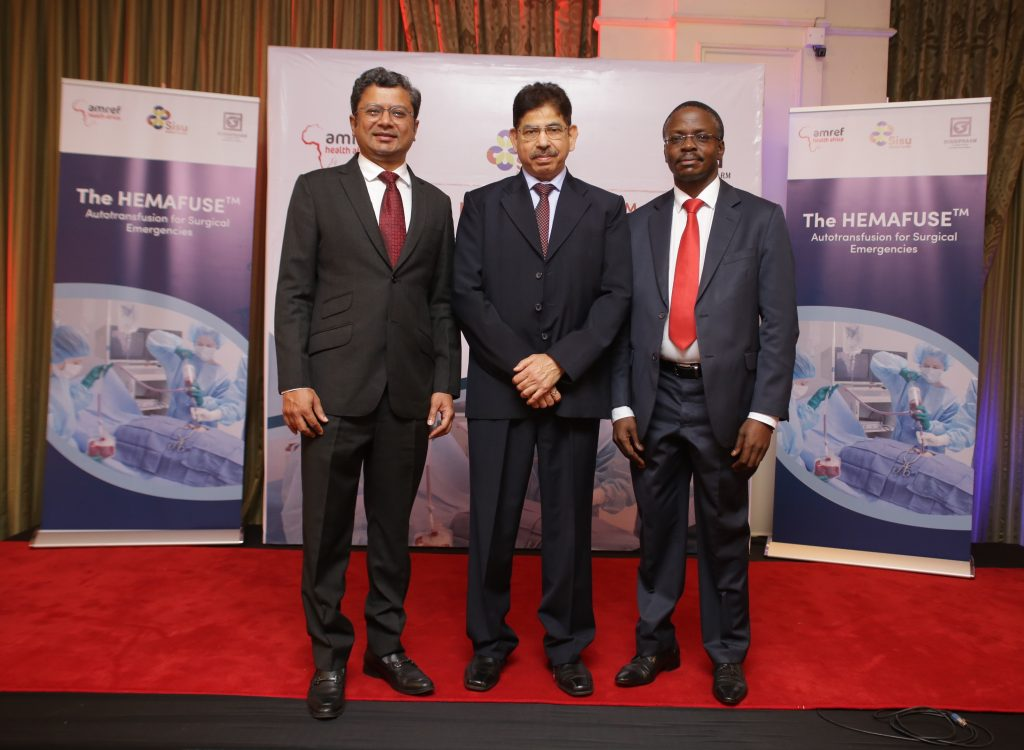 Sisu Global Health COO Sajju Jain, Surgipharm Director of Sales and Marketing Rakesh Vinayak and Amref Health Africa in Kenya Country Director Dr Meshack Ndirangu pose for a photo during the launch of Hemafuse in Kenya. www.businesstoday.co.ke