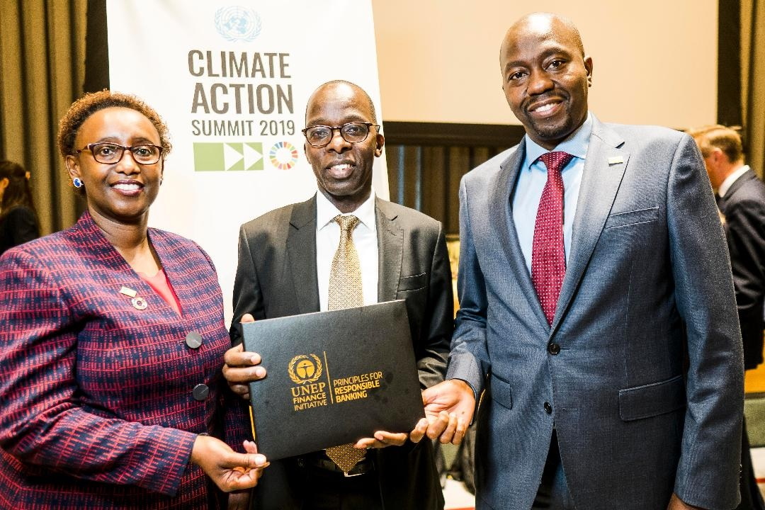 (L-R) KCB Group Head of Corporate and Regulatory Affairs – Judith Sidi Odhiambo, KCB Group Chief Operating Officer – Samuel Makome, and KCB Group Head of Investor Relations – David Kitheka during the launch of the UNEP FI Principles for Responsible Banking at the UN Headquarters in New York. www.businesstoday.co.ke
