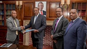 President Uhuru Kenyatta receives the report of the technical committee chaired by Infrastructure Principal Secretary Prof Paul Maringa, which had been tasked to assess the viability of the Kimwarer and Arror dams projects and report to him within 30 days. Other members were Quantity Surveyor Julius Matu, Eng Benjamin Mwangi and Eng John Muiruri. He ordered cancellation of the Kimwarer dam deal. www.businesstoday.co.ke