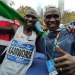 Eliud Kipchoge (right) poses for a photo with Geoffrey Kamworor after the 2017 Newyork marathon. www.businesstoday.co.ke