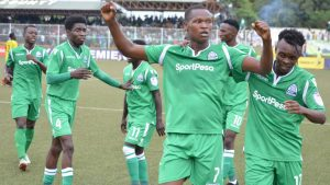 Gor Mahia striker Nicholas Kipkurui celebrates his goal against Tusker with teammates. Gor won the Saturday match 5-2 giving them an early advantage in the league this season. [Photo/Goal Kenya]www.businesstoday.co.ke