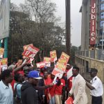 Former Harambee Stars Player McDonald Mariga with his supporters after submitting his papers at the Jubilee Party Offices. www.businesstoday.co.ke