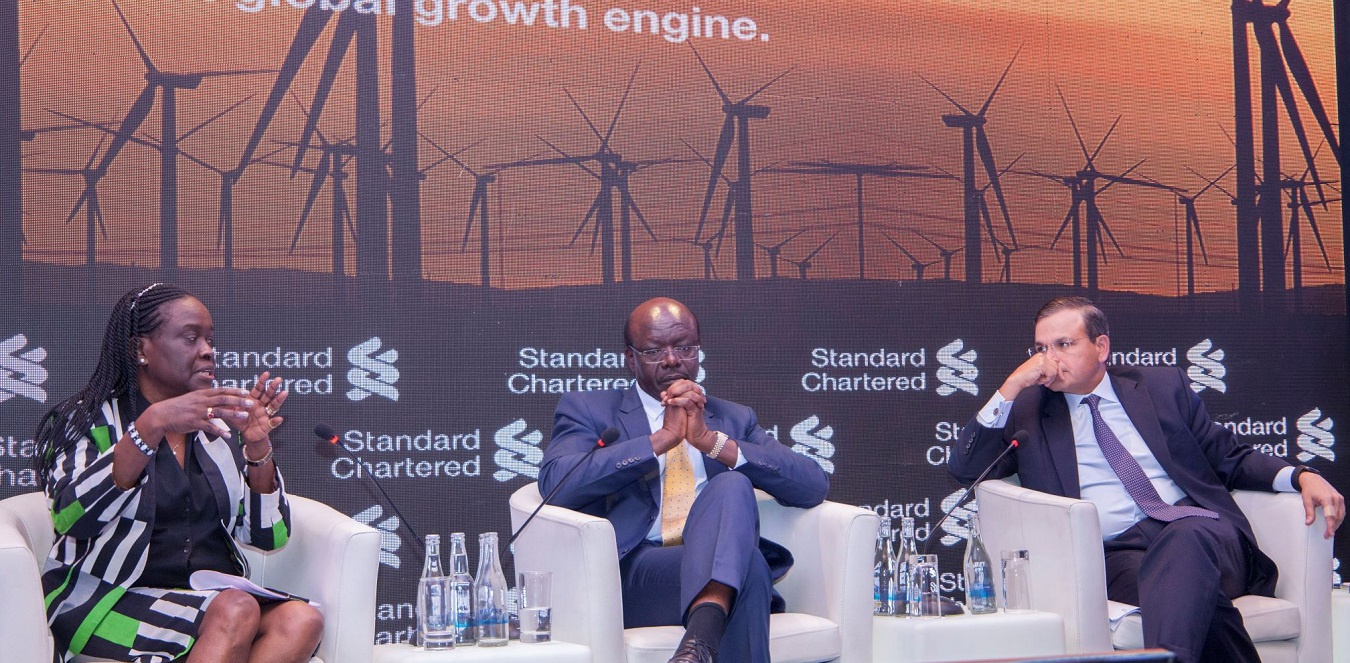 From left: Transport Principal Secretary Esther Koimett, UNCTAD Secretary General Dr Mukhisa Kituyi and Standard Chartered CEO Africa & Middle East at the Africa Summit held in Nairobi. www.businesstoday.co.ke