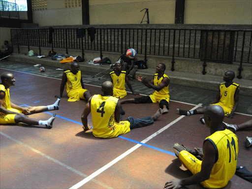 Para Volley players during a previous training session. The team risks ban if they don't make it to a tournament in Rwanda. www.businesstoday.co.ke
