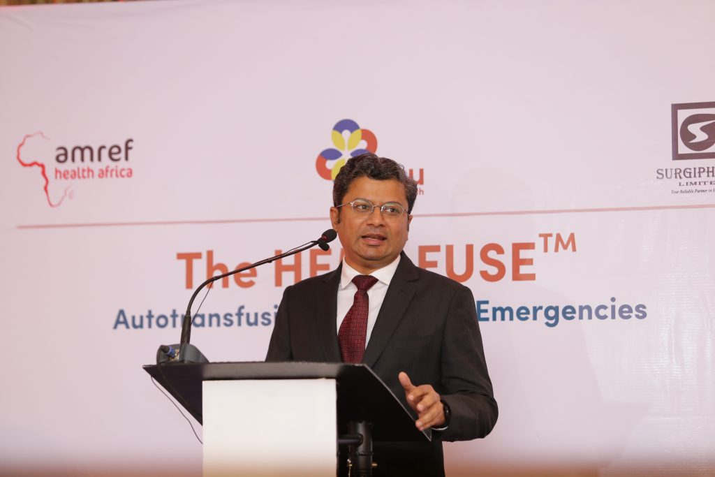 Sajju Jain, Chief Operating Officer of Sisu Global Health makes his speech during the launch of Hemafuse in Kenya. www.businesstoday.co.ke