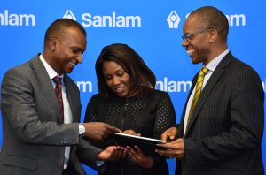 anlam Kenya Chief Financial Officer Kevin Mworia with Sanlam Life CEO Stella Njunge and Sanlam Kenya Group CEO Patrick Tumbo. www.businesstoday.co.ke
