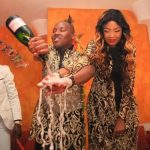 Flamboyant businessman Steve Oduk washes hands with champagne when he threw a Ksh 2.5 million baby shower for his girlfriend Aeedah Bambi two years ago. He was arrested on Thursday for being in possession of fake US dollars and gold bars. www.businesstoday.co.ke