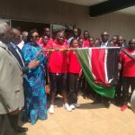 Cabinet Secretary for Sports Amb. Amina Mohammed flags of the Kenyan team at the Moi International Sports Centre Kasarani. www.businesstoday.co.ke