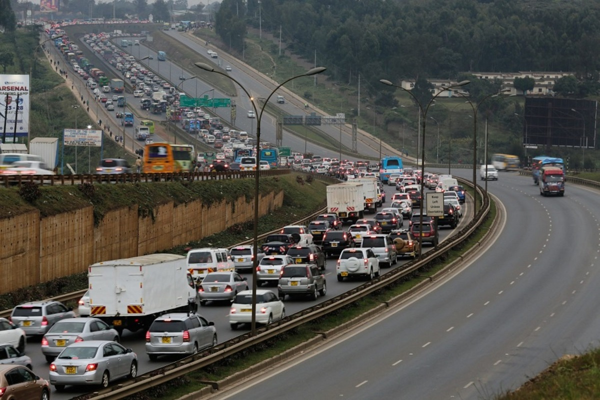 A traffic jam on the Thika 'Super Highway' into the CBD at the NYS area. Most roads are notorious in Nairobi during rush hours. www.businesstoday.co.ke
