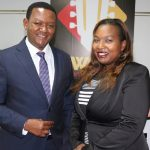 Qwetu Media Services Director Victoria Anampiu with Machakos Governor Alfred Mutua when he visited Qwetu Radio studios for a talk show. She has sold a 70% stake to Trace, which is set to rebrand the Rhumba station. www.businesstoday.co.ke