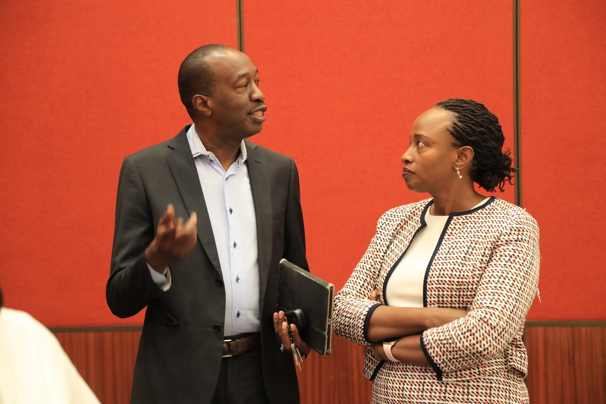 ZEP-RE Managing Director Hope Murera and Future Work CEO Michael Onyango confer after a breakfast meeting, which brought together CEOs, CIOs, and Heads of Innovation and Strategy from various insurance firms. www.businesstoday.co.ke