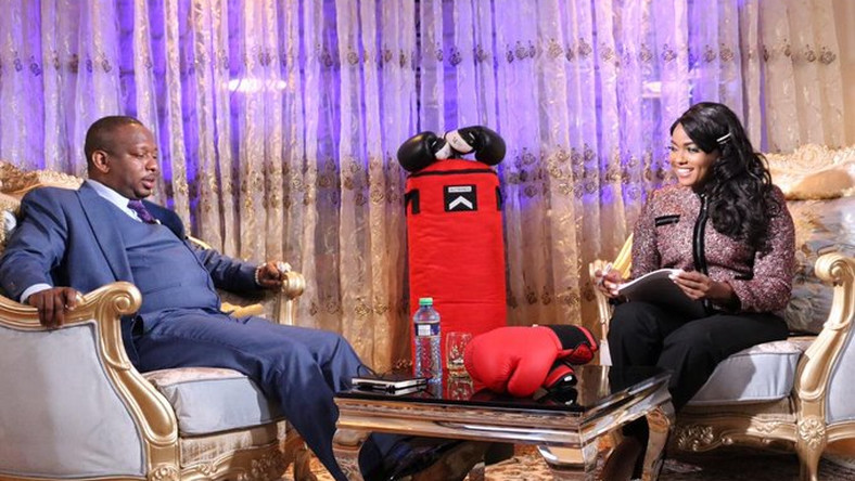 Anne Kiguta during a past Punchline interview with Nairobi Governor Mike Sonko.