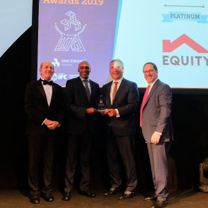 Equity Bank Corporate Banking - SME Associate Director, Jeremy Kamau (2nd left), receives the Award in the Platinum Category of SME Bank of the Year – Africa at this year's IFC Global SME Finance Awards held in the Netherlands. www.businesstoday.co.ke