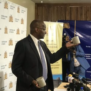 Each briquette CBK Governor Dr Patrick Njoroge is holding is equivalent to Ksh1 million in shredded banknotes. www.businesstoday.co.ke