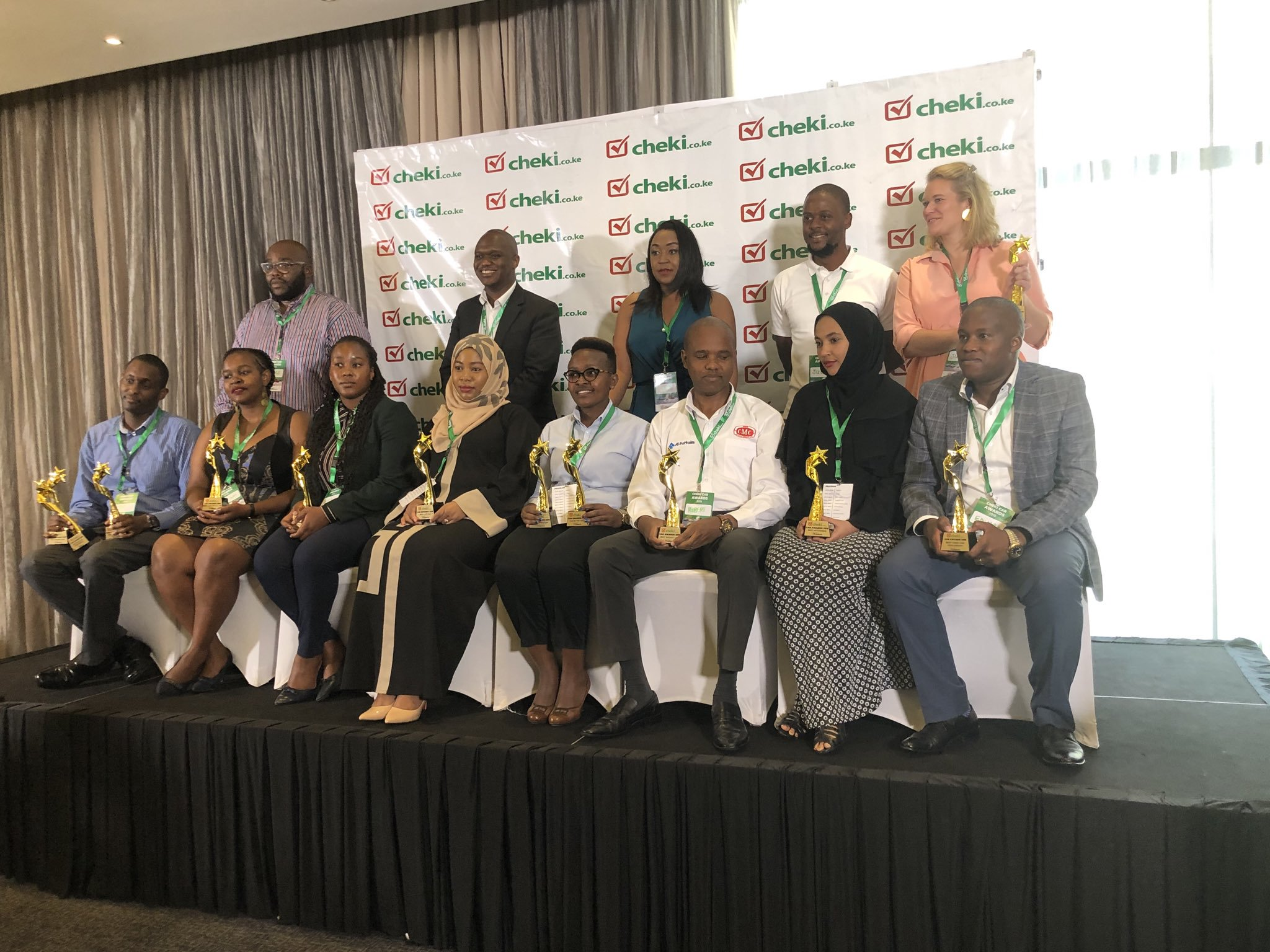 Winners and Judges pose for a photo at the Cheki Car Awards. Toyota Kenya scooped the top award at the event. www.businesstoday.co.ke