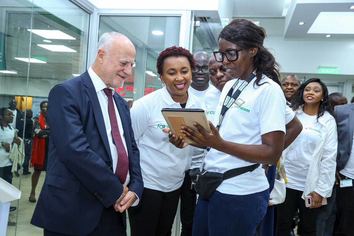 Safaricom Acting CEO, Michael Joseph, with Chief Customer Officer, Sylvia Mulinge and Chief Corporate Security Officer, Nicholas Mulila. This was during a tour of the newly opened Sarit Centre branch after Safaricom unveiled a new strategy. www.businesstoday.co.ke