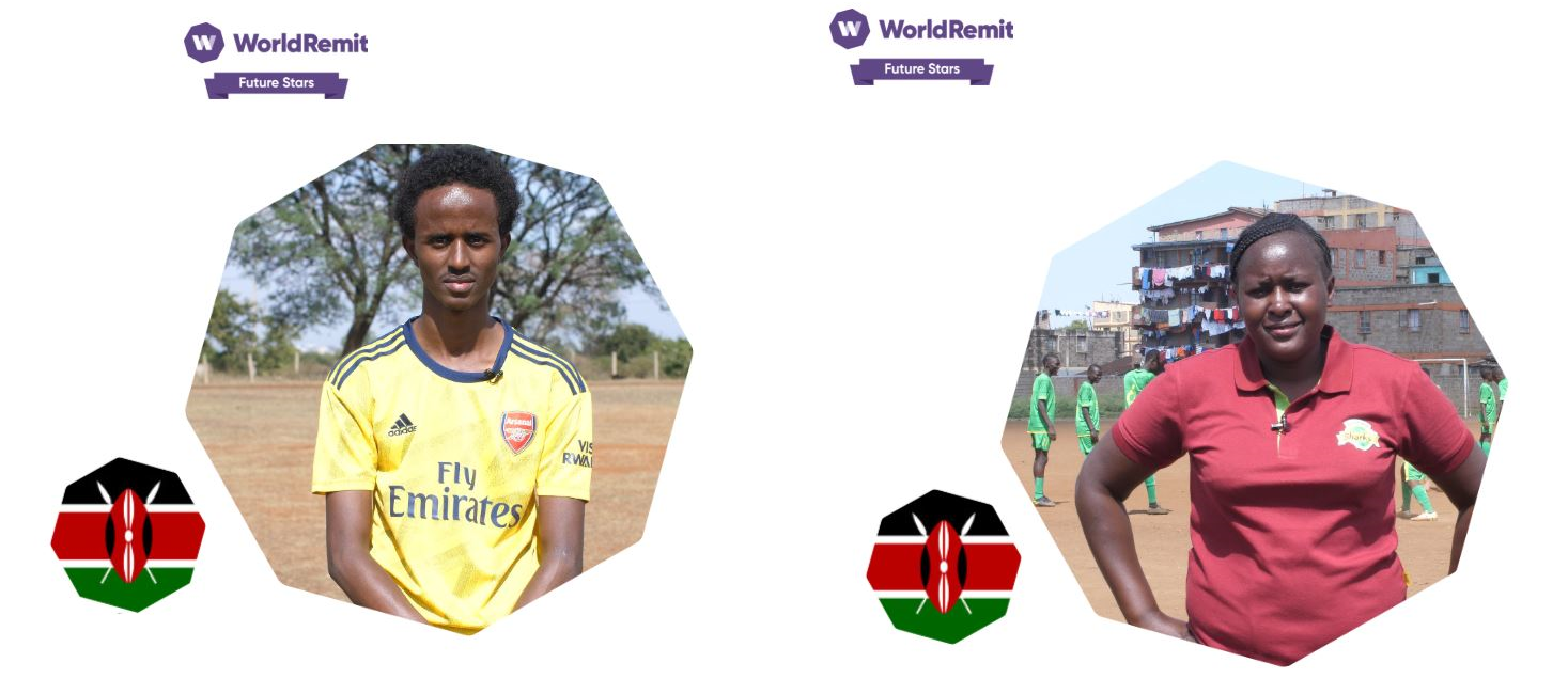 L-R: Feisal and Beldine.The two Nairobi-based youth football coaches could fly to London for training at Arsenal if they receive public votes. www.businesstoday.co.ke